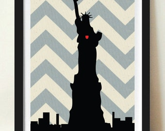 New York City Statue of Liberty Silhouette on Chevron Background: 5X7 Art Print, With Heart Studios - Nursery, Gift, Poster