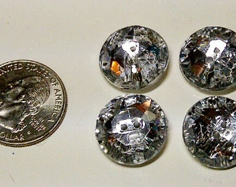 LOT of 4 Buttons- Diamond Rhinestone Buttons - Plastic Buttons