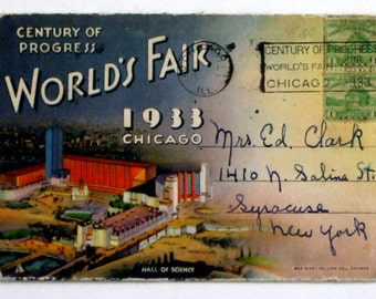 1933 Chicago World's Fair Foldout Postcard Photo Pack