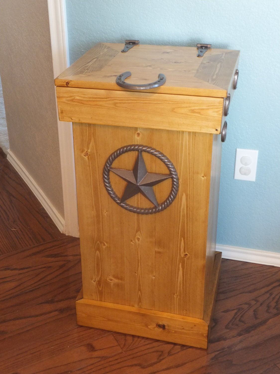 Wood Trash Can Storage Bin