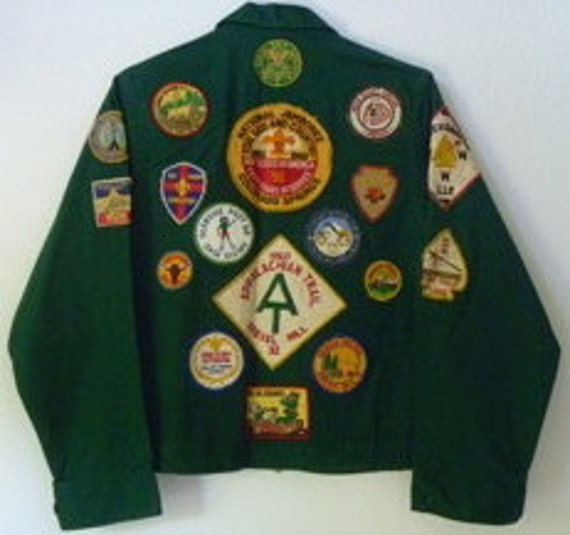 Vintage Boy Scout - Explorer Scout Collectible Patch Jacket. 19 Vintage Patches circa 1958-1961. With Rare JACKET-SIZE 1960 JAMBOREE patch.