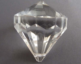 1 Acrylic Gem Pendant Bead - Clear - Large 45mm