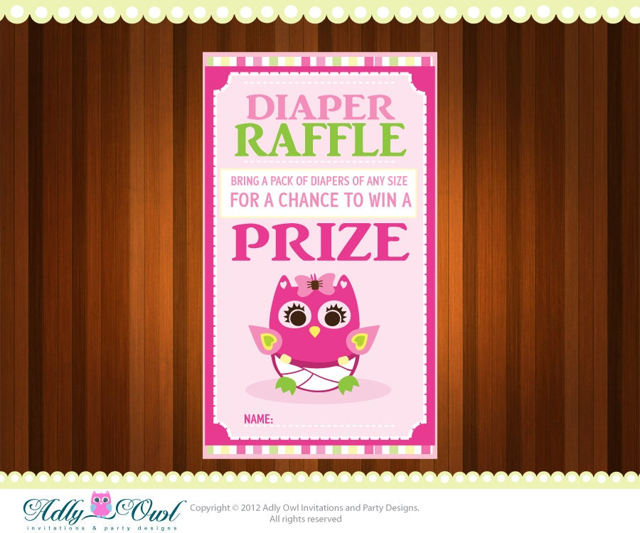 Pink Girl Owl Diaper Raffle Tickets by adlyowlinvitations on Etsy