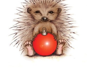 Prickly Christmas Hedgehog Christmas Card