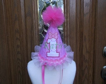 Girls First Birthday Party Hat -- Dainty Darling Birthday Hat  - Free Personalization