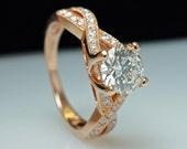 Rose Gold Engagement Ring - Round Brilliant Cut Diamond & 14k Rose Goid - Size 6 - Free Resizing - Layaway Options - 1.30 cttw - JamieKatesJewelry