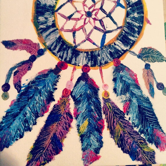 Items similar to 8x10 Colorful Hippie Beaded Dreamcatcher ...