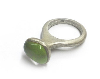 Glass mosaic Sterling silver Handmade Ring Matte finish - Unique - Lost Wax Method - Contemporary Design.