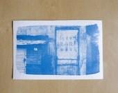 """Tirage photo cyanotype """"Mur - Chine"""" - daté et signé"""
