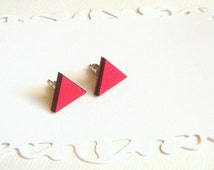 Red Geometric  Earrings ,Laser Cut Wood Triangles Earrings,Geometric Jewelry