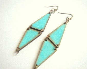 Mint Geometric  Earrings , Wood Triangles Earrings,Geometric Jewelry