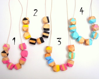 Geometric Necklace , hand painted Natural Wood  Necklace,Geometric Jewelry