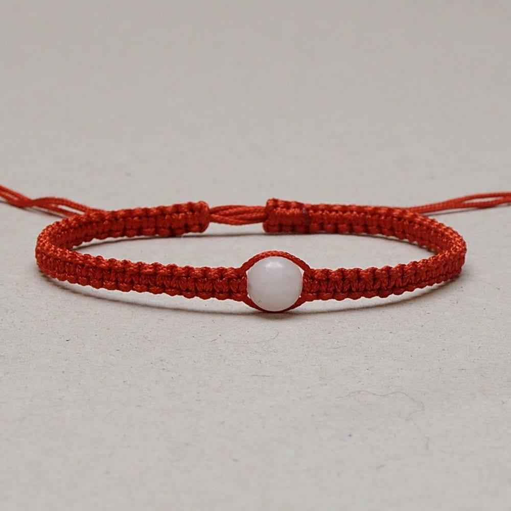 tiny kabbalah macrame bracelet 8mm white bead