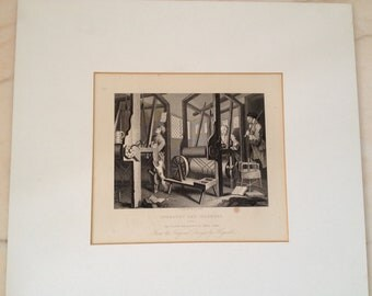 "Hogarth ""Industry and Idleness"" Set of Three 19th Century Matted Lithographs"