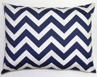 Navy Blue Chevron Pillow.Decorative Pillow Cover.Printed Fabric Front and Back. ZigZag.Chevron