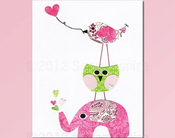 Baby girl art  print, Nursery Art Print, Kids Room Decor, Baby / Children Wall Art -  love bird, elephant, pink and green