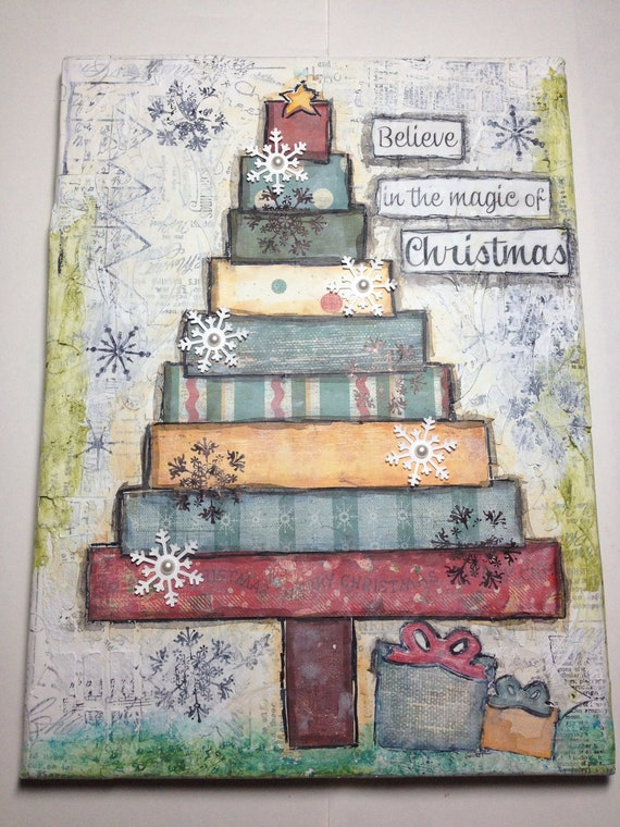 christmas mixed media canvas artwork w stand. Black Bedroom Furniture Sets. Home Design Ideas