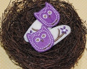 Owl Hair Clip, Pretty Purple Felt