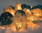 Blue Moon Star Rattan Ball String Lights