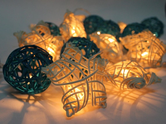 Star Moon String Lights : Blue Moon Star Rattan Ball String Lights by Pattrawan on Etsy