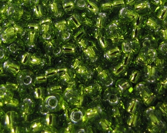 8/0 Lt Green Seed Beads Silver Lined 4984 Japanese Seed Beads 20 grams Item#128