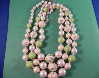 Vintage  Bead Necklace Light Green Creamy White Three Strand