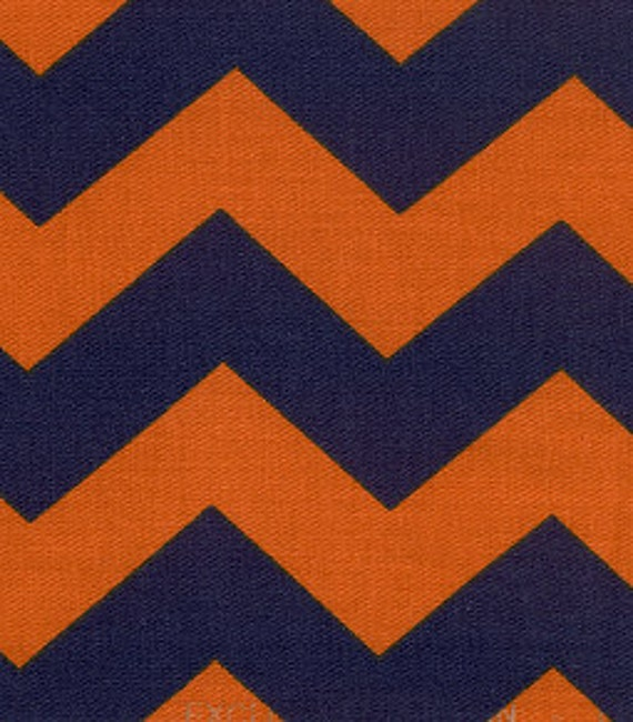 navy blue and orange chevron fabric by fabric finders 1 yard. Black Bedroom Furniture Sets. Home Design Ideas