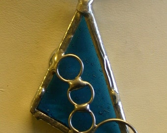 stained glass pendant with circles