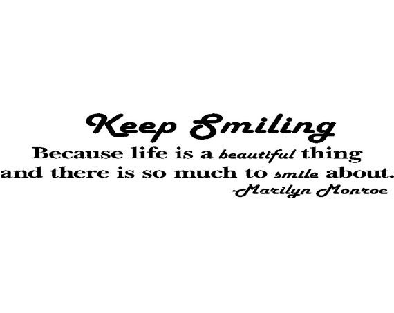 """Items Similar To Marilyn Monroe """"Keep Smiling..."""" Quote"""