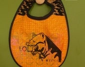 Original Hyena Handprinted Handmade Snap To It Bib-Orange