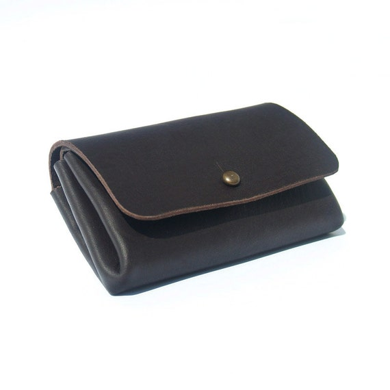 Leather Wallet - Money Card Wallet - Men Wallet - Coin Card Case - - Black leather