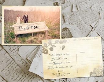 "Wedding Thank You Card - Pau Vintage Lace Photo Personalized 4""x6"""