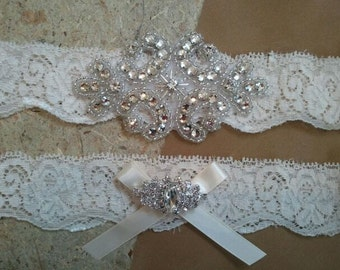 SALE - Wedding Garter, Bridal Garter - Crystal Rhinestone with Ivory Satin Ribbon on a Ivory Lace - Style G2116