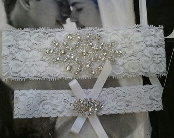 Bridal Garter, Wedding Garter and Toss Garter -Crystal Rhinestone WHITE Garter Set - Style G2015