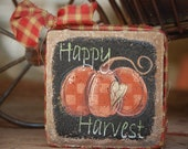 Fall Happy Harvest Country Decor Stone Block