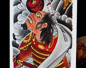"Samurai Skate Deck, Pork Chop Sheet, Flash Sheet, Bruce Morgan 12 x 36"" Fine Art Print"