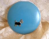 Darling Vintage 1930s Powder Compact Huge & Scottie Dog Decoration Marcasites Enamel