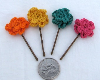 Crochet Flower Bobby Pins