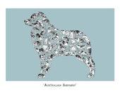 Dog Lover Gift - Australian Shepherd - Art Print , Signed