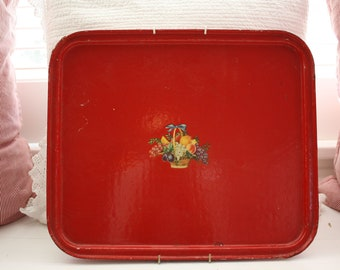 Vintage Red Decoupage Tray.  ON SALE.