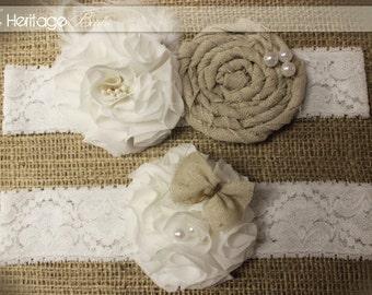 Bridal Wedding Garter- Burlap Garter- vintage rustic garter -white cream burlap garter