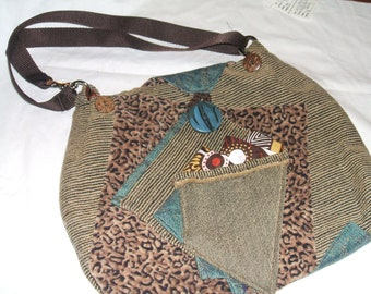 Applique fabric medium size purse