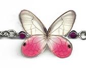 "Real Butterfly Wings Bracelet ""Pink Glasswing"" Resin Coated Real Butterfly Free Shipping Worldwide"