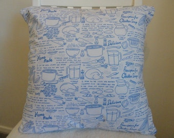 Handmade chicken soup recipe cushion pillow Cover