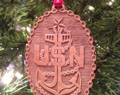 US Navy Senior Chief Petty Officer Wooden Ornament