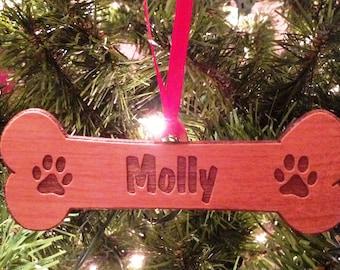 PERSONALIZED Dog Bone Wooden Ornament