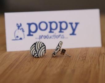 White Porcelain / Ceramic Stud Earrings - Blue Japanese Wave