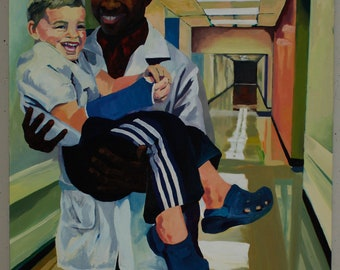 Child & Doctor Hospital Oil Painting