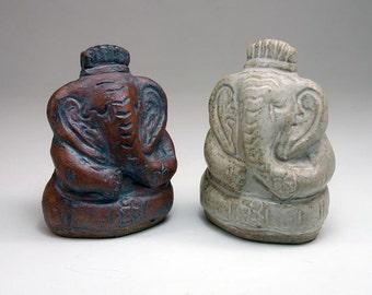 Ganesha Clay Pottery Rattle, Sculpted Ceramic Stoneware Ganesh Altar Shaker
