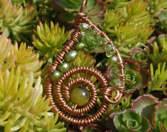 Green Fresh Water Pearls, Peridot, Serpentine Wire Wrapped Pendant